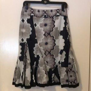 Odille Anthropologie Midi Fit & Flare Gray Skirt 0